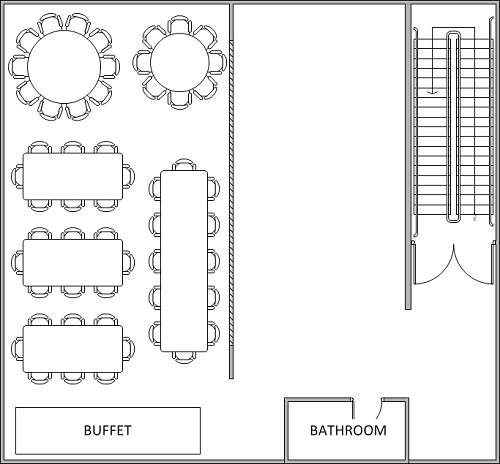 54 Person Buffet Layout