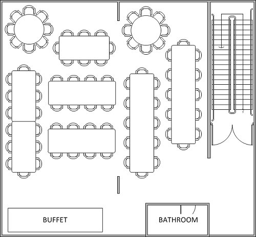 78 Person Buffet Layout